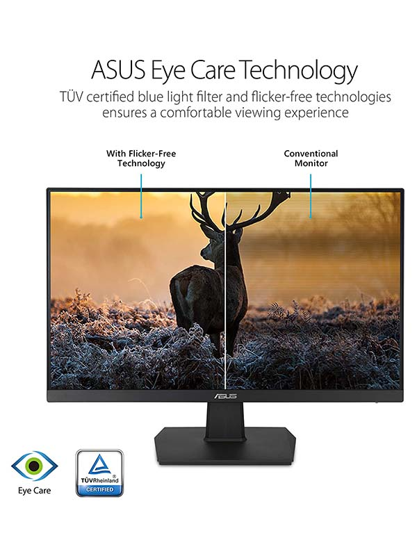 ASUS VA24EHE 23.8-Inch Full HD (1920x1080) Gaming Monitor - 1080P, IPS, 75Hz, HDMI D-Sub DVI-D, Adaptive-Sync / FreeSync, VESA wall mountable, Eye Care, Flicker-free and Low Blue Light, VA24EHE, Black with  Warranty