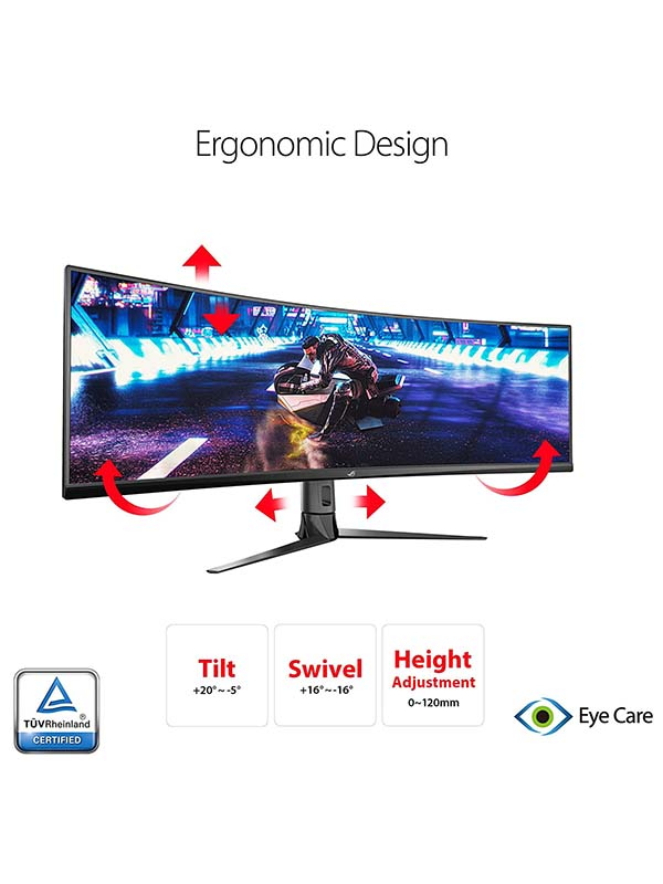 ASUS ROG Strix XG49VQ 49-Inch 32:9 (3840 x 1080) Super Ultra-Wide HDR Gaming Monitor, 144Hz, FreeSync™ 2 HDR, DisplayHDR™ 400, DCI-P3: 90%, Shadow Boost, XG49VQ - Black with Warranty