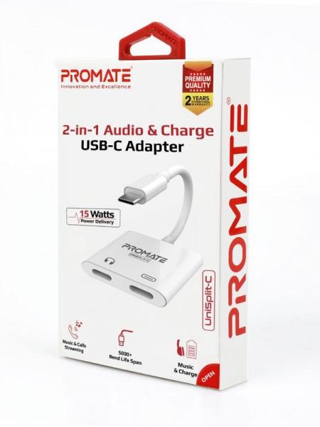 Promate UniSplit-C 2-in-1 Audio & Charge USB-C