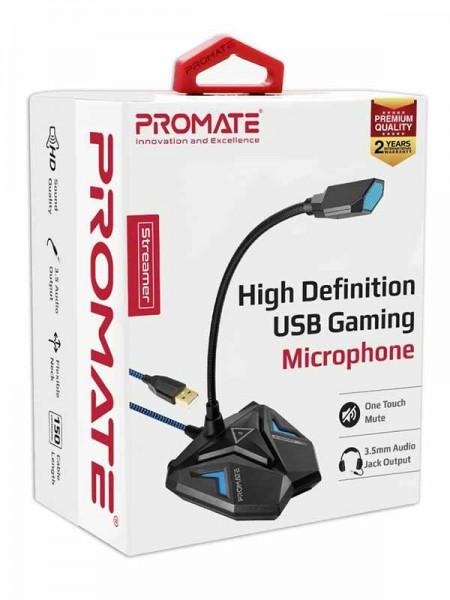 Promate Streamer USB Gaming Microphone, High Defin