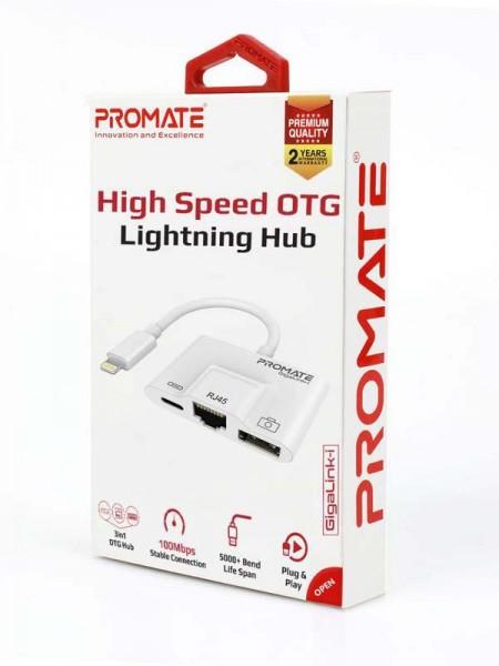 Promate GigaLink-I  3 in 1 Lightning Hub, RJ45 Eth