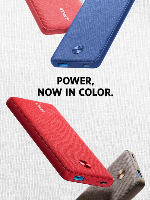 Anker 10000 mAh PowerCore Sense PD Fabric Power bank, Blue with Warranty