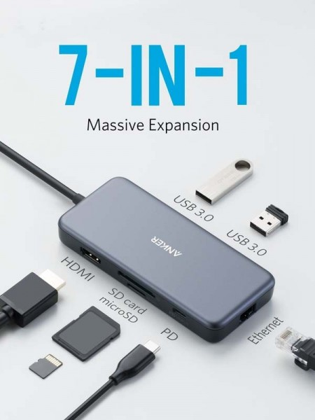 Anker 7-in-1 PowerExpand+ USB-C PD Ethernet Hub Fo