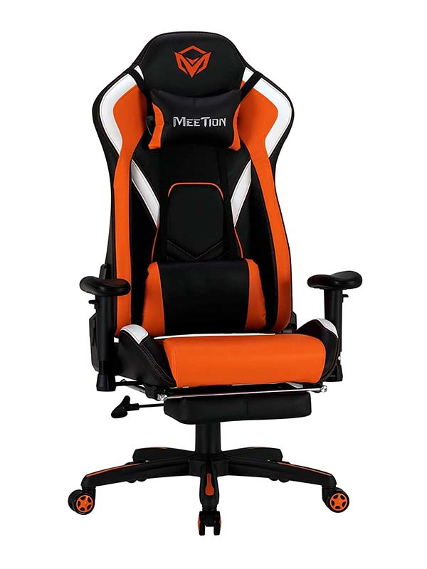 MEETION CHR22 Adjustable Handrail Comfortable Reclining Scalable Footrest Gaming Chair, Black & Orange