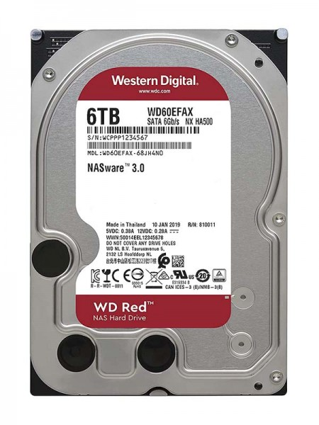 WD Red 6TB NAS HDD, 5400rpm, SATA 6 Gb/s, 3.5 Inch