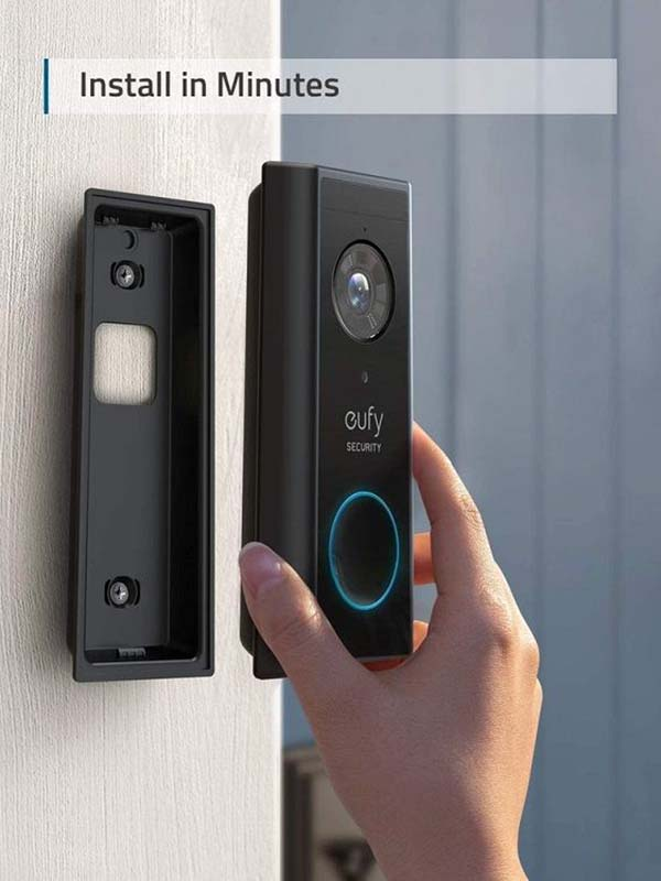 Eufy Wireless Video Doorbell Camera with 2K HD, Battery-Powered, Black with Warranty
