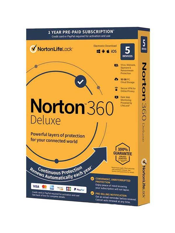 NORTON™ 360 Deluxe, 5 Devices   50GB